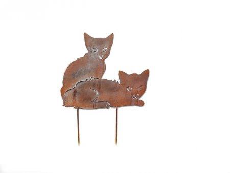Gartenstecker Beetstecker Katzenpaar aus Metall