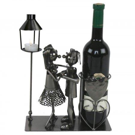 Flaschenhalter Tanzpaar mit Laterne für Teelicht, Metall, Silber