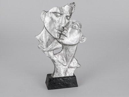 Formano Büste Paar Lliebespaar küssend schwarz-silber Deko Skulptur ca.40cm hoch