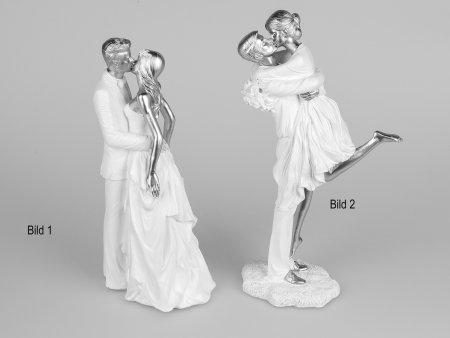 Formano Liebespaar stehend weiß-silber 29 cm Skulptur Hochzeit Verlobung Paar