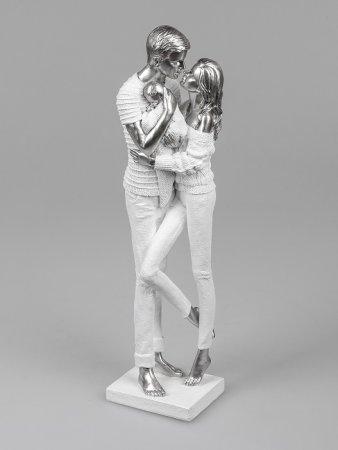Formano Familie mit Baby Skulptur Liebe weiss-silber aus Kunststein ca. 46 cm