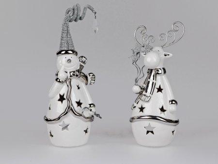Formano Windlicht Schneemann oder Elch aus Keramik Deko Weihnachten