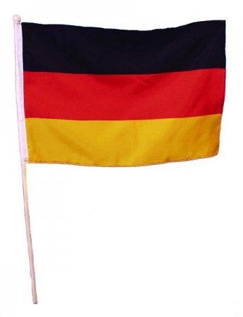 Fußball Deutschland Fahne Flagge mit Holzstab ca. 30 x 45 cm