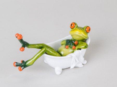 Frosch in Badewanne Deko Figur Dekofigur Dekoration Zierfigur Wanne Bad