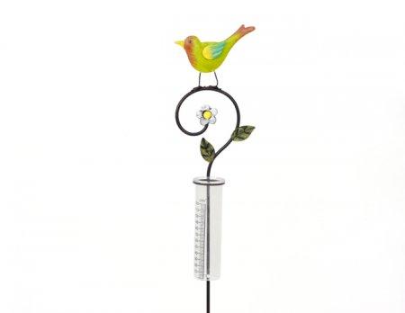 Regenmesser Vogel bunt Gartenstecker Gartendeko Länge 90 cm