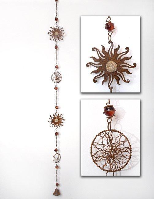 girlande sonnenf nger sonne mit glocke 110 cm lang gartendeko. Black Bedroom Furniture Sets. Home Design Ideas