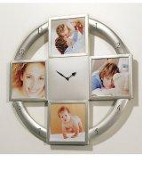 Wanduhr Fotouhr für 4 Bilder 10x10cm