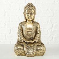 Buddha Skulptur Kunstharz Figur Gold Asia Feng Shui Dekoration