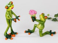 Frosch Froschpaar Blumen Hochzeitsantrag Verlobung Kunststein