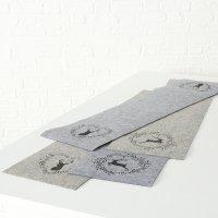 Tischläufer Leopold aus Filz 120 x 30 cm grau 4-fach sortiert Auswahl