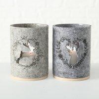 Boltze Windlicht Leopold aus Filz, Glas und Holz