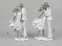 Formano Dekofigur Liebespaar stehend weiß-silber aus Kunststein