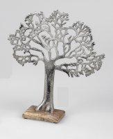 Formano Lebensbaum aus Aluminium mit Mangoholz ca. 34 cm Dekoration Baum