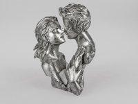 Formano Büste Paar Skulptur Deko Sockel weiss-silber aus Kunststein