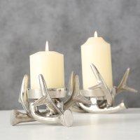 Boltze Kerzenständer 2er Set Kerzenleuchter Geweih Tischdeko