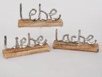 3 x Schriftzug Lebe - Liebe - Lache Aufsteller Deko