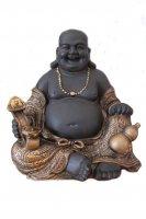 Buddha sitzend Höhe 30 cm Statue, Figur, Mönch lachend