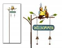 Gartenstecker Vogelpaar Willkommen aus Metall