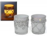 Hübsche Teelichter 2er Set silber glänzend Windlicht