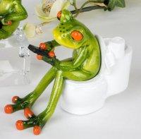 Laubfrosch auf Toilette Kunststeinfigur