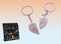 Schlüsselanhänger Broken Heart mit Initialien A bis Y beidseitig