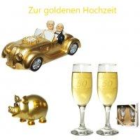 Spardose zur goldenen Hochzeit Sektgläser Auto Hochzeit