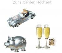 Spardose zur silbernen Hochzeit Sektgläser Auto Hochzeit