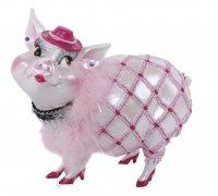 Sparschwein Spardose Tussi Lady rosa mit Hut