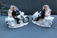 Tortenaufsatz Brautpaar auf Motorrad, Hochzeit, Trauung, Deko